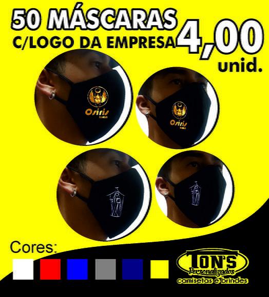 50 máscara personalizadas empresa, escola e igrejas