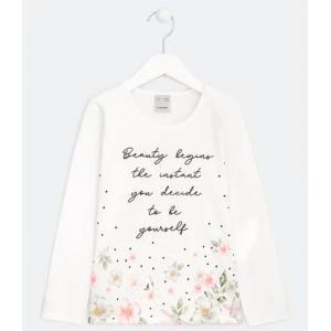 Blusa infantil estampa floral com lettering