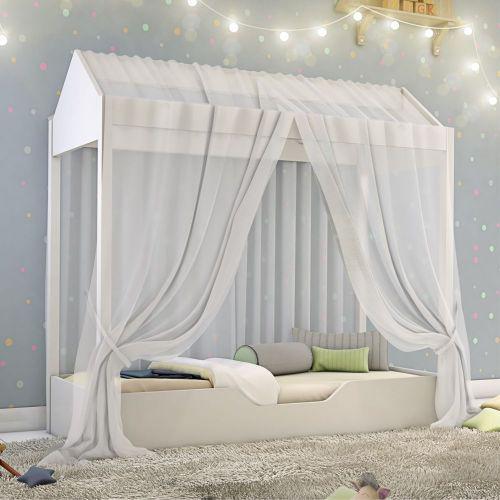 Cama casinha montessori infantil com mosquiteiro branco