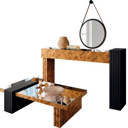 Kit aparador para sala com mesa de centro lord e espelho nix