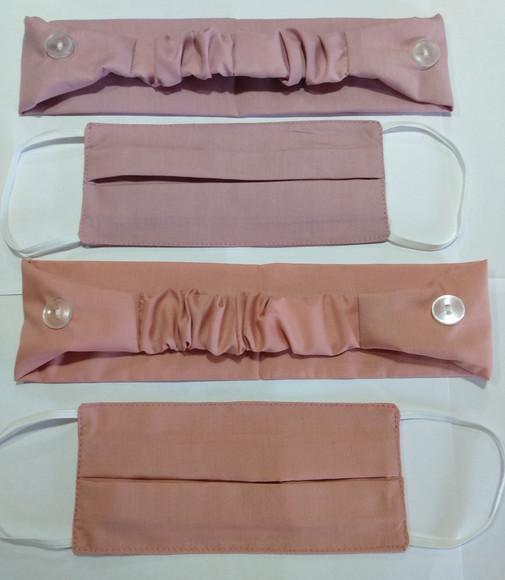 Kit tiara + máscara proteção de tecido duplo