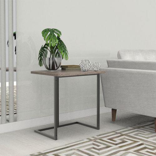 Mesa lateral menor preto madeirado escuro lilies m/u00f3veis