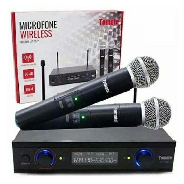 Microfone duplo s/ fio profissional uhf digital 60m wireless