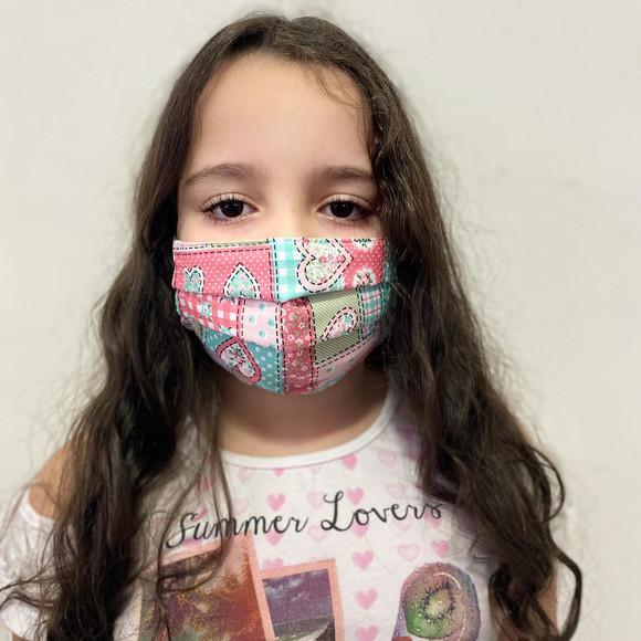 Máscara 3 camadas regulador de elástico infantil
