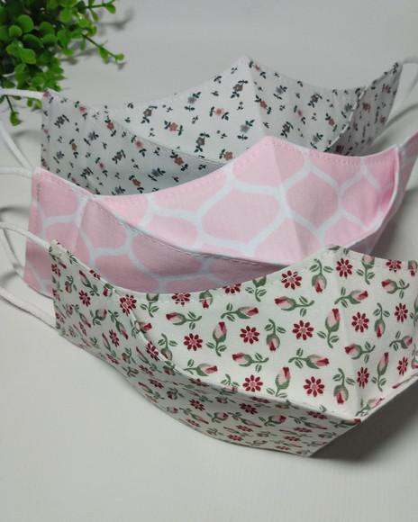 Máscara 3d de tecido de algodão reutilizável