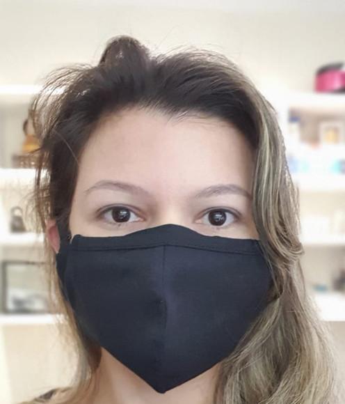Máscara de tecido ajustável de algodão dupla camada preta