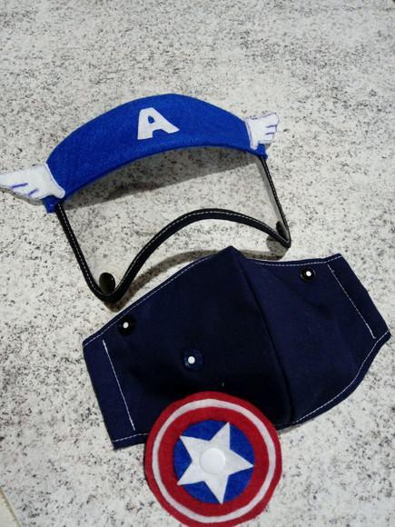 Máscara proteção infantil viseira capitão américa