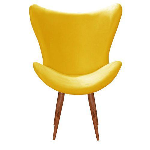 Poltrona decorativa alice p/u00c9 palito amarelo bella decor