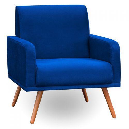 Poltrona decorativa p/u00e9s palito carla suede azul marinho