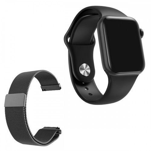 Rel/u00f3gio smartwatch w58 preto android ios + 1 pulseira