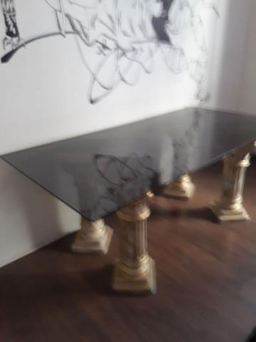 Mesa de tampo vidro fumê 8mm