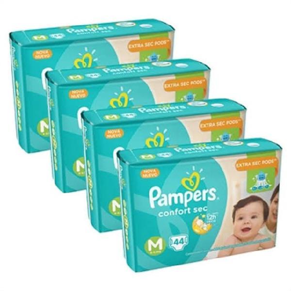 Pampers confort sec m com 44 unidades r$ 42,90