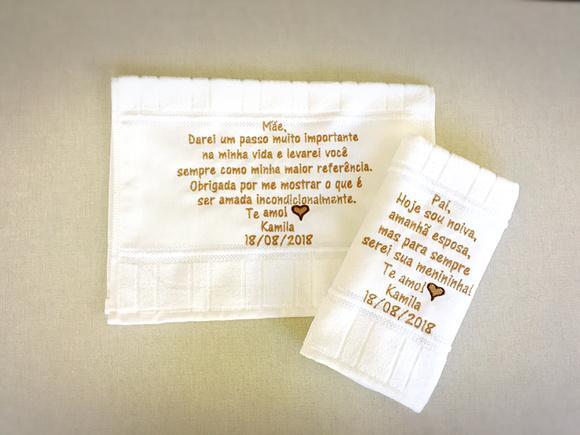 """2 unid - toalhas bordadas """"pai e mãe"""""""