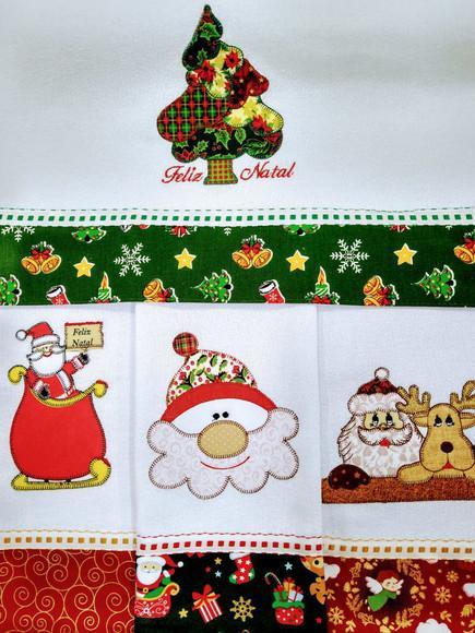 5 panos de prato de natal bordado patchwork