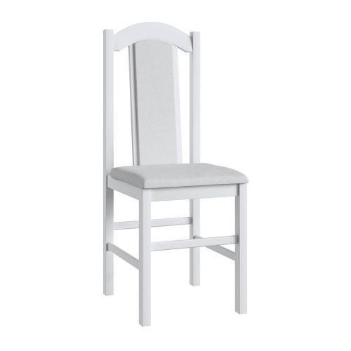 Cadeiras de madeira branca e assento branco lilies
