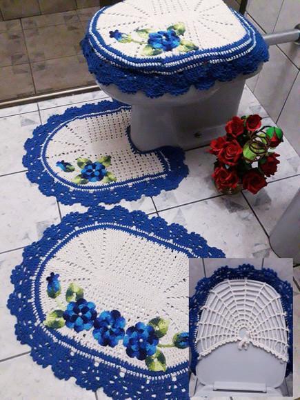 Jogo de banheiro maravilha 3 peças cru e azul c/flores
