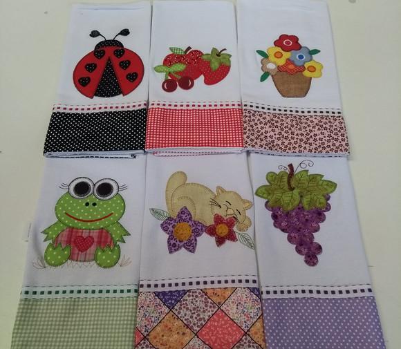 Kit de 25 panos de prato patchwork bordados