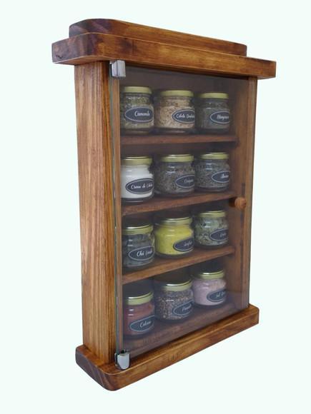Porta tempero de madeira armário gabinete