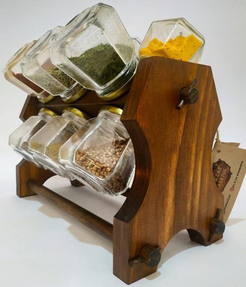 Porta temperos giratório de madeira 12 potes