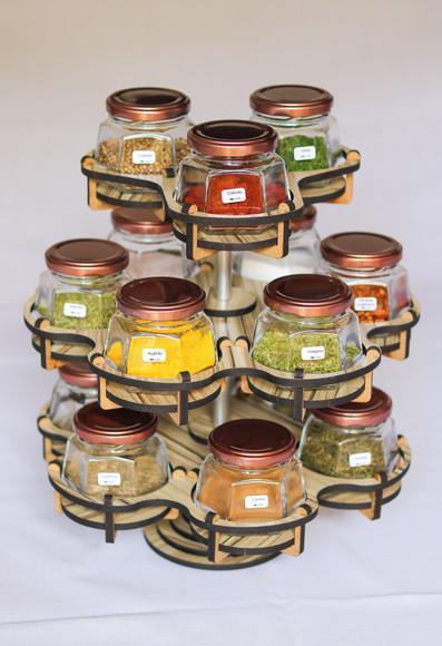Porta temperos giratório com 15 potes vidro sextavado