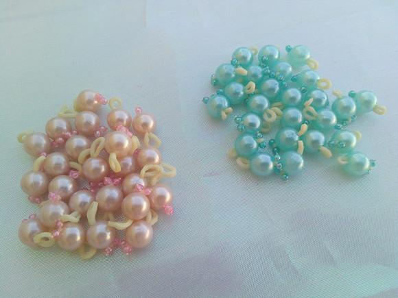 Amorinhas perola rosa bebê e azul claro penteado pet (20