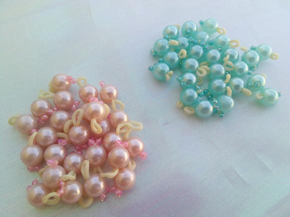 Amorinhas perola rosa bebê e azul claro / penteado pet