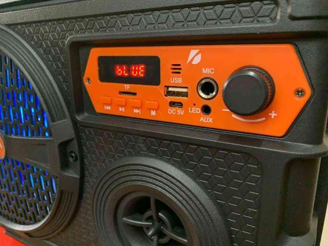 Caixa de som com bluetooth, microfone e karaokê! frete