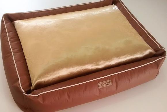 Cama pet 70x70 luxo cachorro couro/tec.ouro-cor tijolo