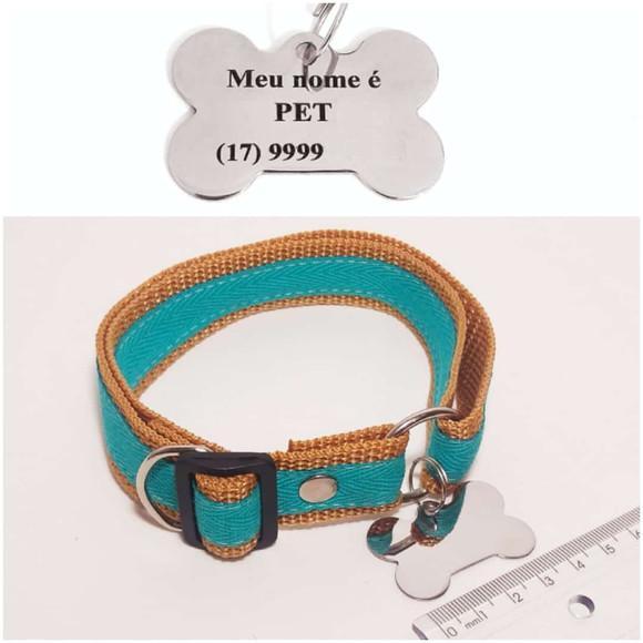 Coleira de identificação p/cães de pequeno e médio