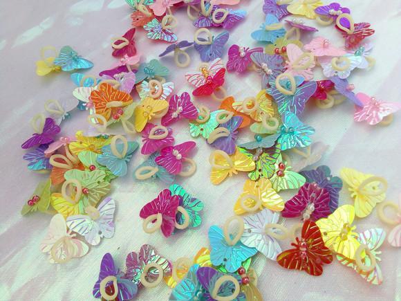 Joia borboletas penteado pet 100 unidades