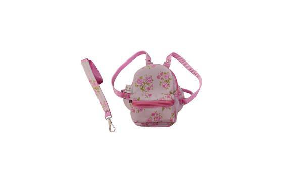 Mochila floral rosa / bolsa peitoral com guia