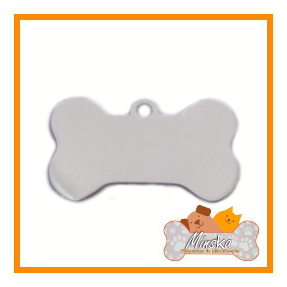 Plaquinha de identificação pet gravada - osso aço inox