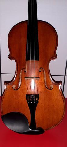 Violino antigo de autor francês breton brevete fundo único