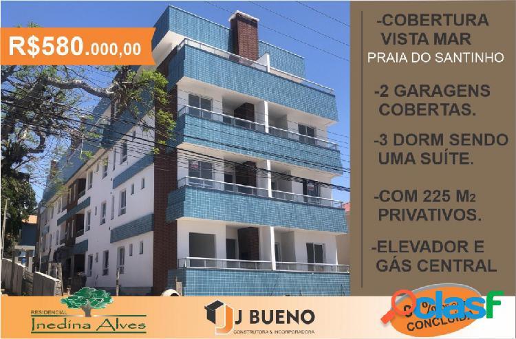 Investidores! linda cobertura à venda c/ vista p/ mar na praia do santinho.