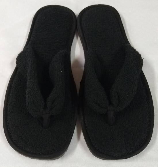 Chinelo de quarto dedo atoalhado preto (pantufas/atacado)