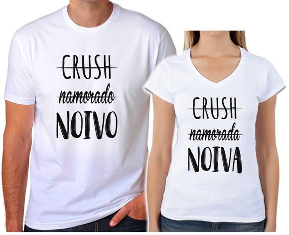 Kit 2 camisetas branca casal namorados crush noivo noiva 11