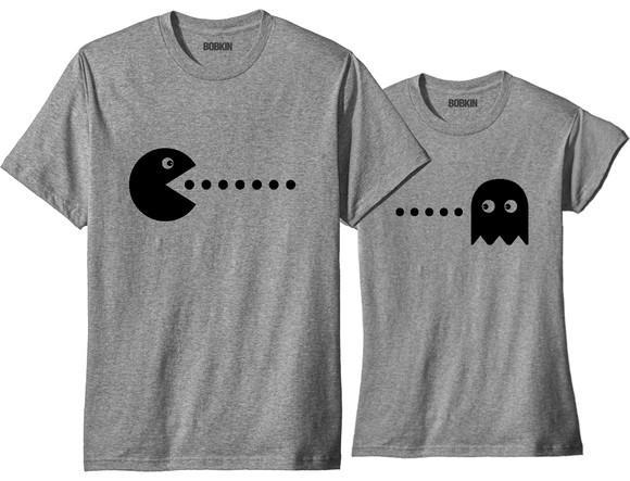 Kit de camisetas para casal combinando pacman