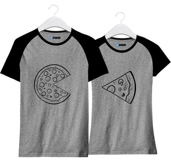 Kit de camisetas para casal pizza combinando namorados amor