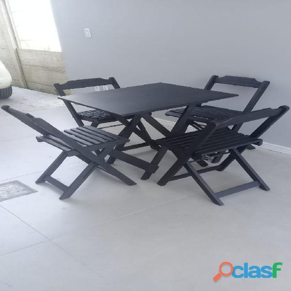 Conjunto Dobrável Mesa 0,70x0,70 com 4 cadeiras R$ 330,00 a vista