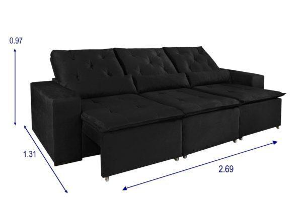 Sofá retrátil e reclinável iara 2,69m - marrom, preto ou