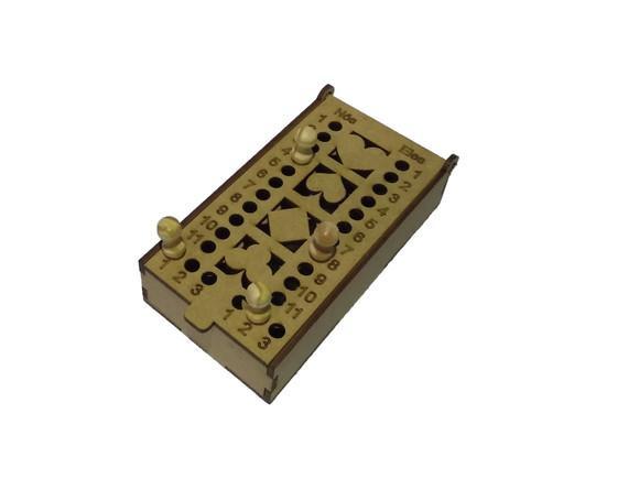 Caixa de baralho c/ marcador de truco em mdf corte a laser