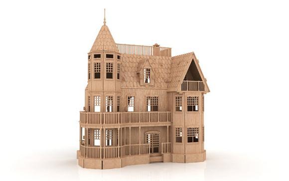 Casa de boneca mansão em mdf 3mm - modelo 06