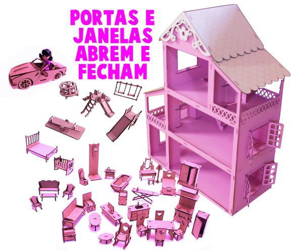 Casinha p/ boneca rosa móveis + parque + carro + 1 polly