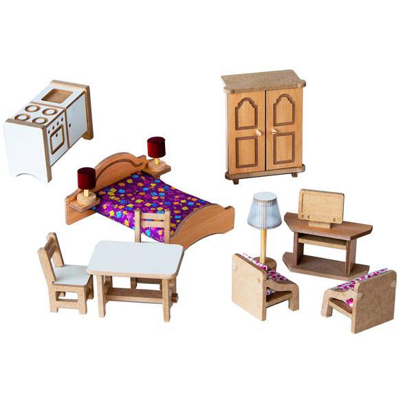 Kit de móveis completo para casinhas de boneca - madeira -