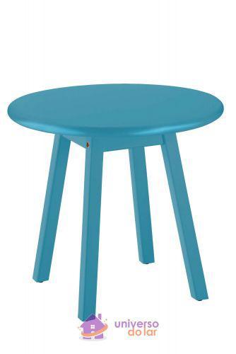 Mesa lateral tramontina modelo p cor azul com tampo redondo
