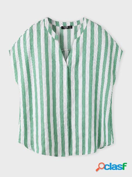 Yoins basics plus tamanho rosa blusa de manga curta listrada com decote em v