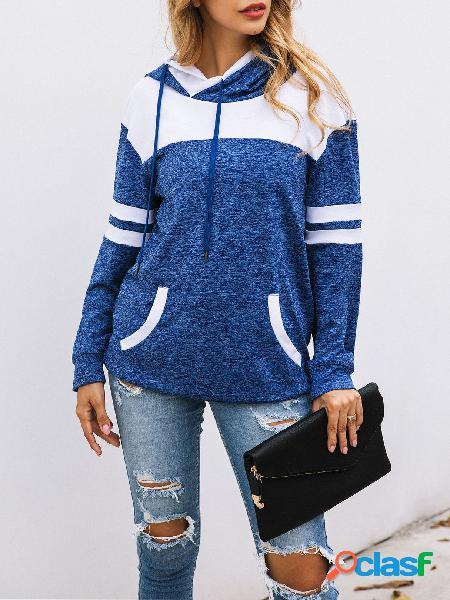 Blue pocket design mangas compridas hoodie