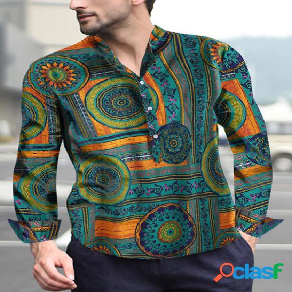 Incerun colarinho de estampa tribal masculino casual camisa