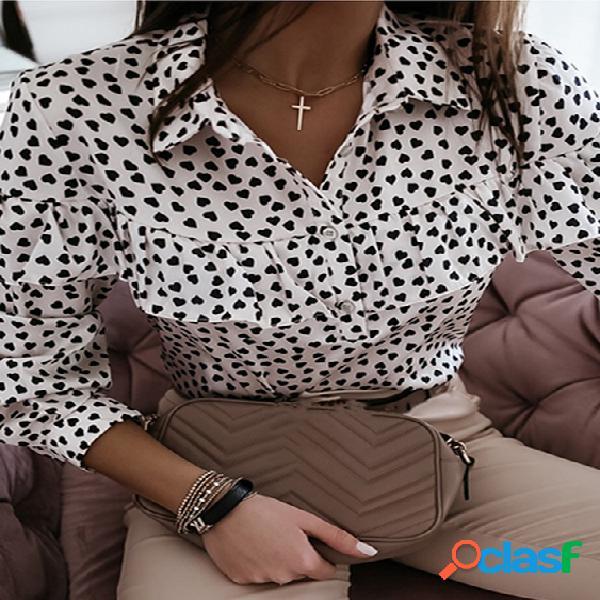 Coração polka dot ruffle trim classic blusa de manga comprida com gola