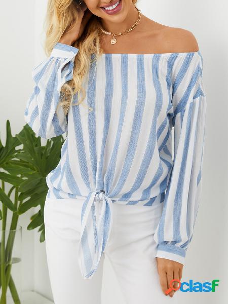 Yoins blusa de manga comprida listrada azul fora do ombro